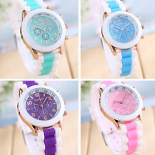 Casual Women's Date Quartz Stainless Steel Watches Silicone Strap Wrist Watch
