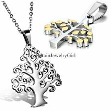 Silver Gold Tone Tree of Life Stainless Steel Pendant Mens Womens Necklaces 18""