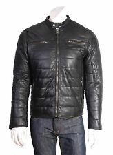 Mens Real Leather Biker Jacket BLACK Fully Quilted Padded Zip Up TOP QUALITY New