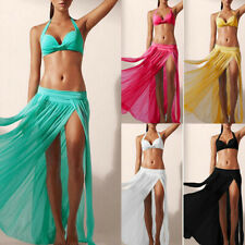 Women Girl Cover up Chiffon Pleated Maxi Dress Elastic Waist Long Maxi Skirt
