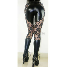 Women Lace Flower Faux Leather Legging Skinny Stretch Black Pants Trousers Gift