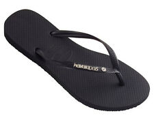 Havaianas Slim Metal Logo and Crystal Flip Flops - Black