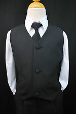 NEW BABY BOY INFANT BLACK PARTY VEST SUIT TUXEDO SET Long Tie S M L XL (0-24 mo)