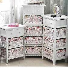 White Shabby Chic Bedside Unit Table With Wicker Drawer Storage Cabinet Bedroom