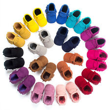 Baby Soft Sole Suede/Leather Tassel Shoes Infant Boy Girl Toddler Moccasin 0-18M
