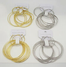 "RTC 10 or 18pc GOLD SILVER 7.5"" BANGLE BRACELET 2"" HOOP EARRING JEWELRY SET NEW"
