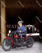 BS584 Police Officer On Motorcycle Bike Cop 8x10 11x14 Colorized Photo
