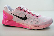 NIKE WOMENS LUNARGLIDE 6 SHOES white black pink pow 654434 106