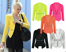 New Womens Cropped Long Sleeves Zip Pocket Waterfall Blazer Ladies Jacket Coat