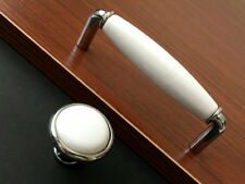 "3.75"" 5"" Cabinet Door Knobs Drawer Pull Handles White Silver Drop Bail 96 128 mm"