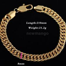 Fashion Punk Rock Style 18K Gold Plated Metal Link Hand Bracelet Jewelry NM N4C3