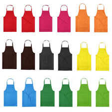 Bib Apron with Pockets Thicken Cotton Polyester Blend Cooking Kitchen Restaurant