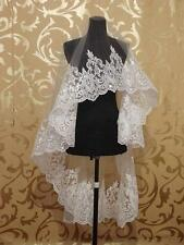 New 1.5M Lace Purfle Tulle Wedding Bridal Veil 1 layer Bride Veil Hijab sv013