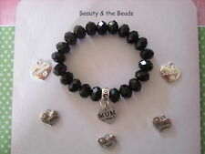 BLACK BEADED STRETCH BRACELET WITH HEART CHARM  MUM GRANDMA NAN SISTER GIFT