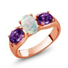 1.33 Ct Oval Cabochon White Simulated Opal Purple Amethyst 14K Rose Gold Ring