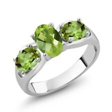 1.85 Ct Oval Checkerboard Green Peridot 925 Sterling Silver Ring