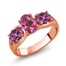 1.80 Ct Oval Pink Mystic Topaz Pink Tourmaline 18K Rose Gold Plated Silver Ring