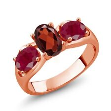 2.10 Ct Oval Red Garnet Red Ruby 18K Rose Gold Plated Silver Ring