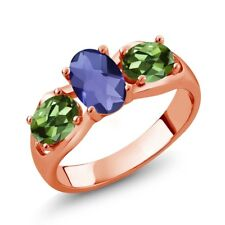 1.65 Ct Oval Checkerboard Blue Iolite Green Tourmaline 14K Rose Gold Ring