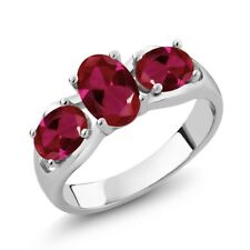 1.90 Ct Oval Red Created Ruby 14K White Gold Ring