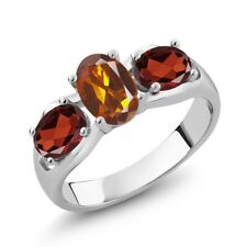 1.70 Ct Oval Orange Red Madeira Citrine Red Garnet 925 Sterling Silver Ring