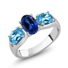 1.90 Ct Oval Blue Simulated Sapphire Swiss Blue Topaz 925 Sterling Silver Ring