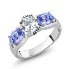 2.40 Ct Oval White Zirconia Blue Tanzanite 925 Sterling Silver Ring