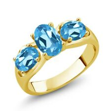 1.80 Ct Oval Swiss Blue Topaz 18K Yellow Gold Plated Silver Ring