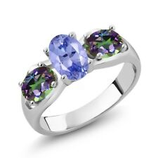 1.75 Ct Oval Blue Tanzanite Green Mystic Topaz 18K White Gold Ring