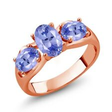 1.65 Ct Oval Blue Tanzanite 18K Rose Gold Ring