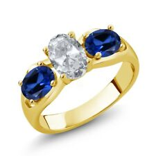 1.95 Ct White Topaz Blue Simulated Sapphire 18K Yellow Gold Plated Silver Ring