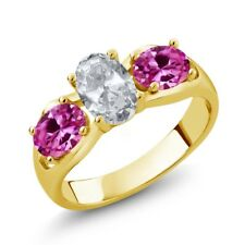 1.95 Ct White Topaz Pink Created Sapphire 18K Yellow Gold Plated Silver Ring