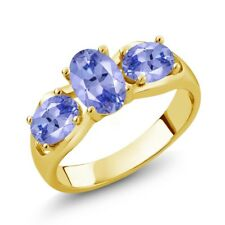 1.65 Ct Oval Blue Tanzanite 18K Yellow Gold Plated Silver Ring