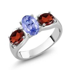 1.82 Ct Oval Blue Tanzanite AAA Red Garnet 14K White Gold Ring