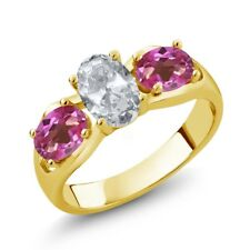 1.95 Ct Oval White Topaz Pink Mystic Topaz 18K Yellow Gold Ring