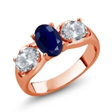 2.02 Ct Oval Blue Sapphire White Topaz 18K Rose Gold Plated Silver Ring