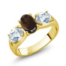 1.75 Ct Brown Smoky Quartz Sky Blue Topaz 18K Yellow Gold Plated Silver Ring