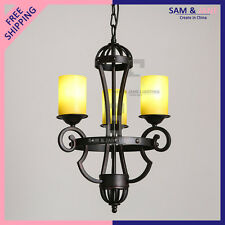 New Rustic Chandelier Hand wrought Iron LED Ceiling Fixture French Country Porch