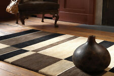 PACIFIC PAC08 Antique Washed BLACK BEIGE Modern Handmade THICK Wool Rug Runner