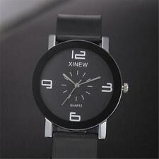 Luxury Men's Analog Stainless Steel Leather Bracelet Dial Quartz Wrist Watch New