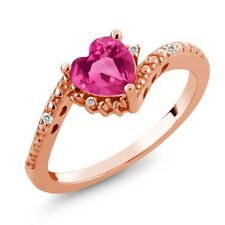 0.84 Ct Pink Created Sapphire White Sapphire 18K Rose Gold Plated Silver Ring