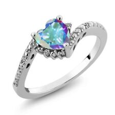 0.98 Ct Heart Shape Mercury Mist Mystic Topaz White Diamond 18K White Gold Ring