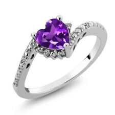 0.68 Ct Heart Shape Purple Amethyst White Diamond 14K White Gold Ring