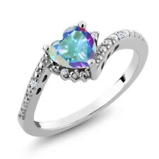 0.99 Ct Heart Shape Mercury Mist Mystic Topaz White Topaz 18K White Gold Ring