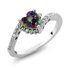 0.98 Ct Green Mystic Topaz White Created Sapphire 14K White Gold Ring