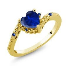 0.84 Ct Blue Simulated Sapphire Blue Sapphire 18K Yellow Gold Plated Silver Ring