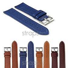StrapsCo Genuine Pebbled Leather Watch Band Strap w/ Contour Stitching