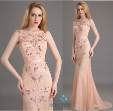Backless Formal Evening Dresses Lace Appliques Bridesmaid Dress Beaded Ball Gown