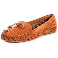 Dolcis Jeri Womens Slip On Flats Textile Tan Brown Casual New Shoes