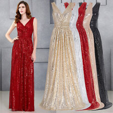 Gold Sequins Bridesmaid Evening Formal Party Cocktail Long Maxi Dress Gown Prom